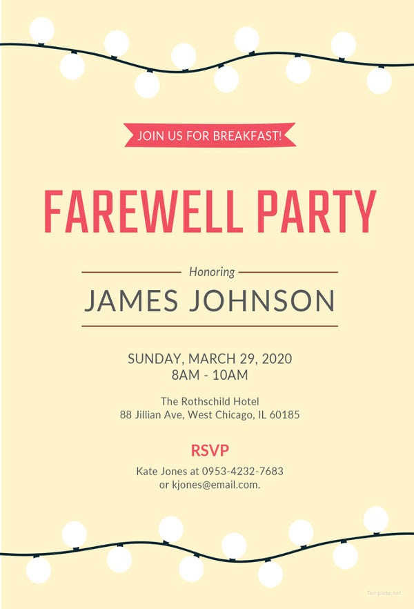 Perfect Farewell Breakfast Invitation Template