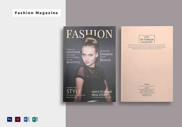 15 fashion magazine template free sample example for Magazine cover page template psd