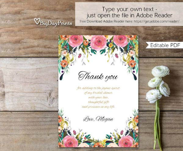 floral bridal shower thank you card1
