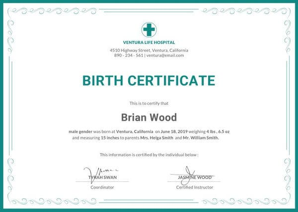 Sample Birth Certificate Templates   Free Word Pdf Documents