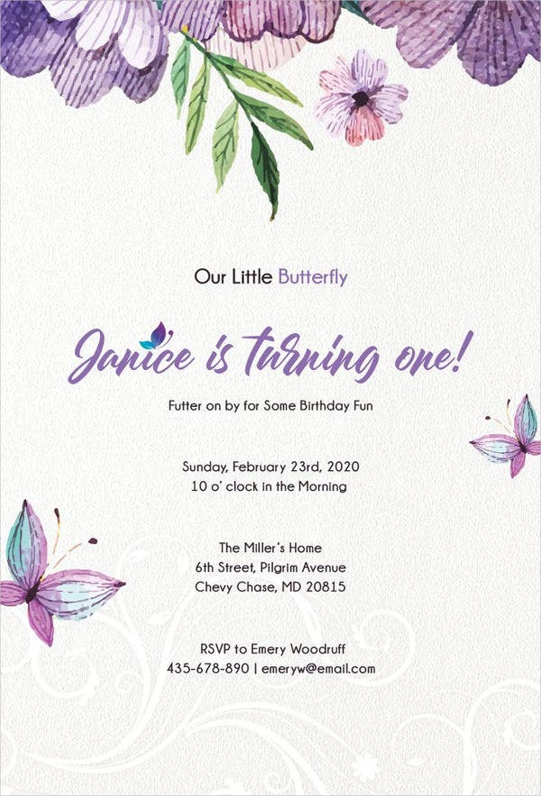 Free Butterfly Invitation Template