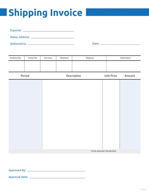 free commercial shipping invoice template