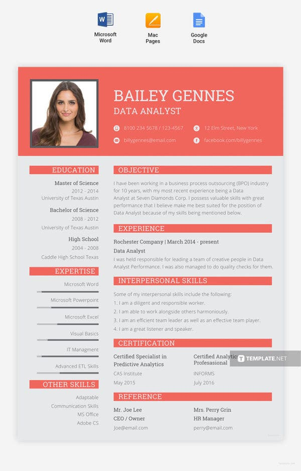 free-data-entry-resume-template