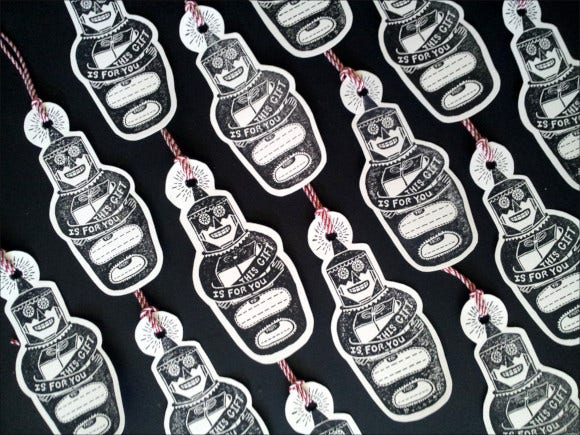 free hand printed gift tag