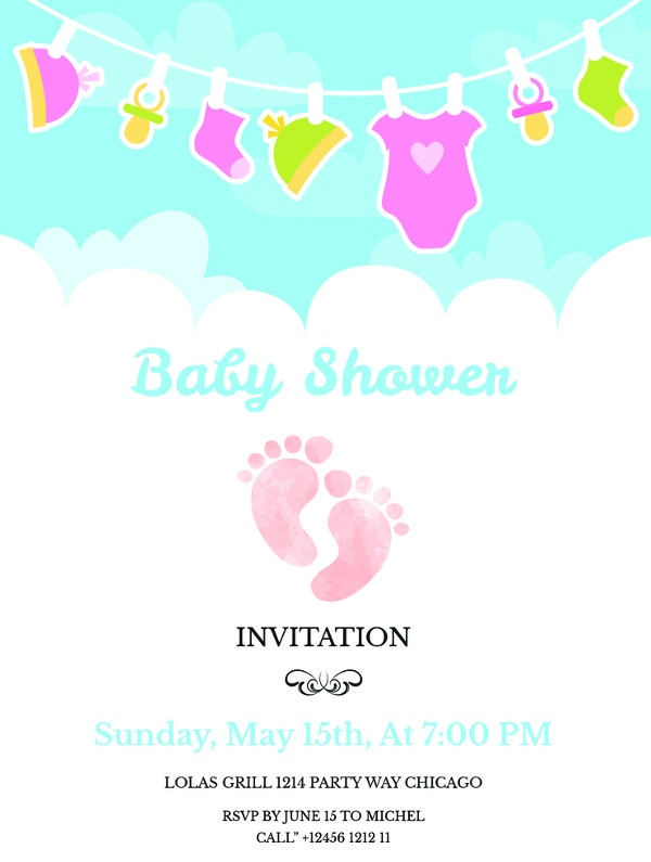 Free Printable Baby Shower Invitations Free Premium Templates - Print at home baby shower invitation templates