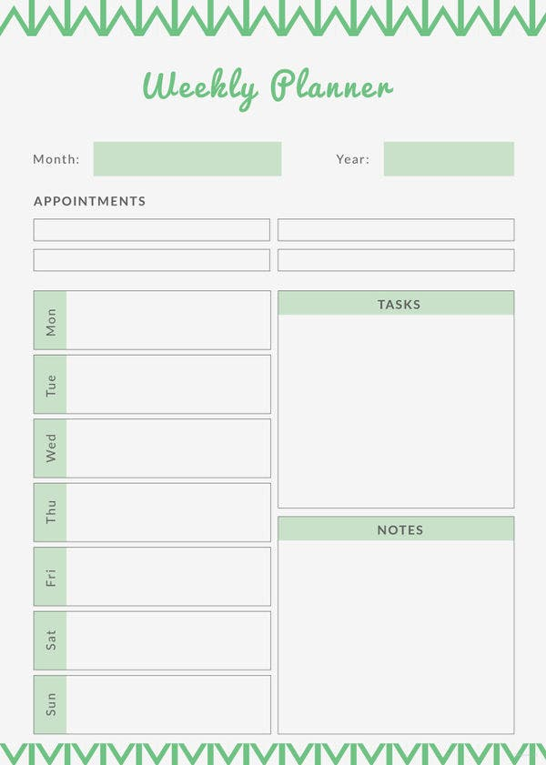 image about Weekly Agenda Printable called Printable Weekly Planner - 12+ Absolutely free Term, PDF Files