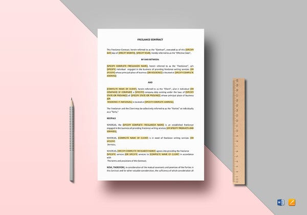 freelance contract word template