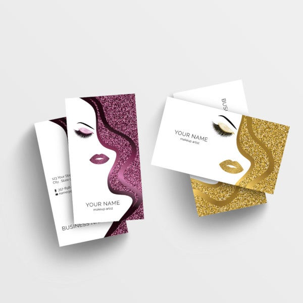 glitter effect makeup art business card