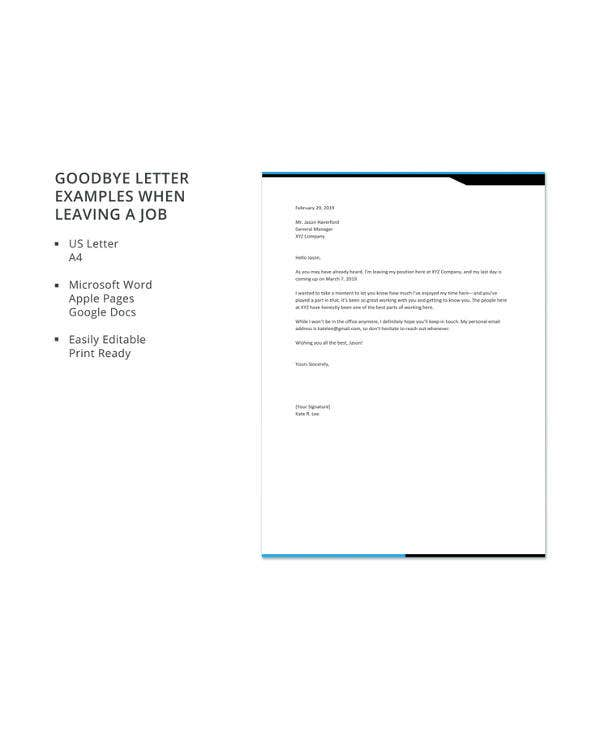 goodbye letter examples when leaving a job
