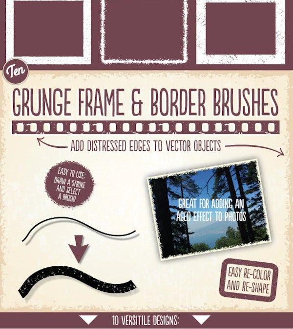 grunge frame border brushes