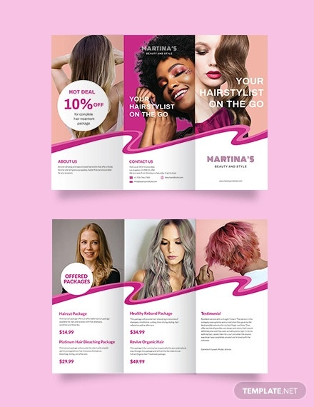 hairstylist trifold brochure template