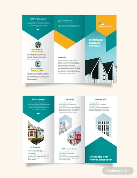 house for sale tri fold brochure template