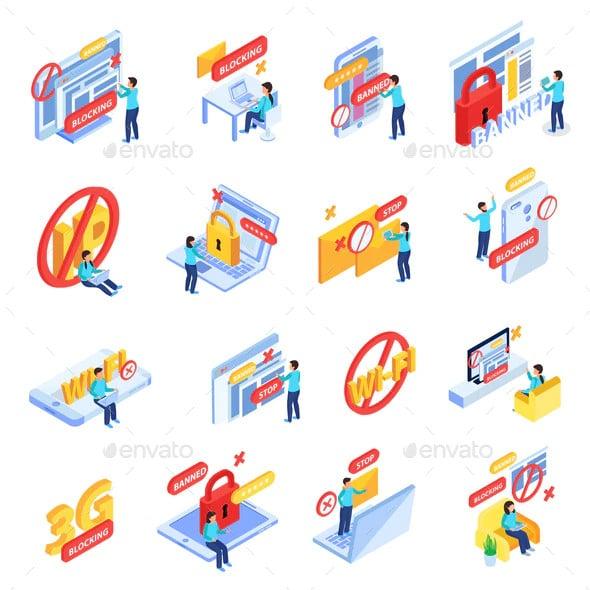 internet blocking icons set