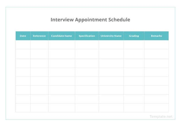 printable appointment schedule 12 free excel pdf documents download free premium templates. Black Bedroom Furniture Sets. Home Design Ideas