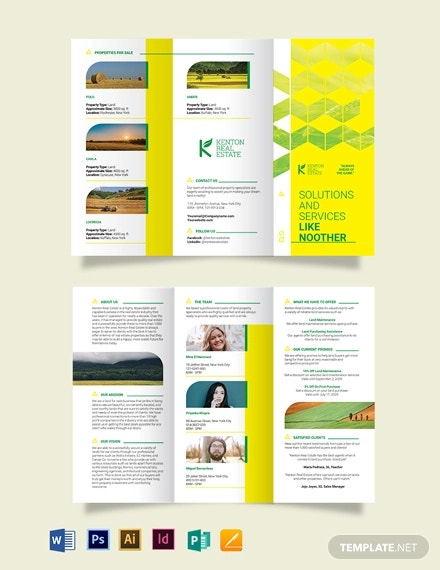 land for sale tri fold brochure template