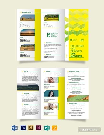 land for sale tri fold brochure template