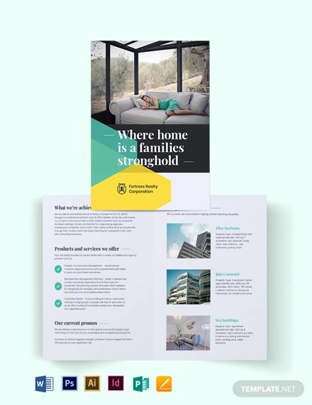 land sales agent agency bi fold brochure template