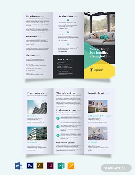 land sales agent agency tri fold brochure template