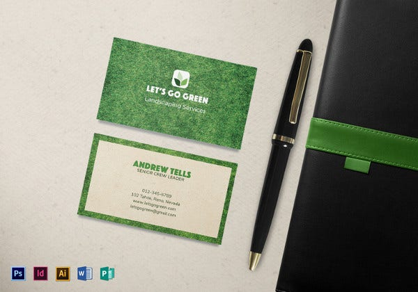8 landscaping business cards printable psd eps format download landscaping business card template accmission Images
