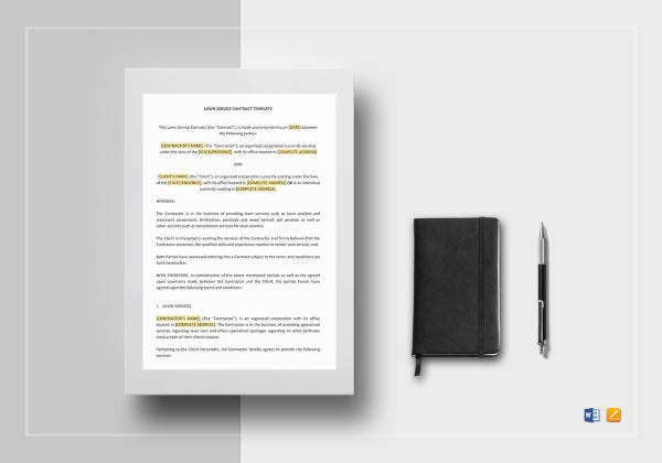 lawn service contract template to edit