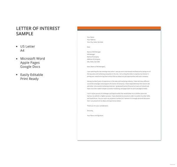 Letter of interest 12 free sample example format free letter of interest sample1 details file format microsoft word microsoft publisher spiritdancerdesigns Gallery