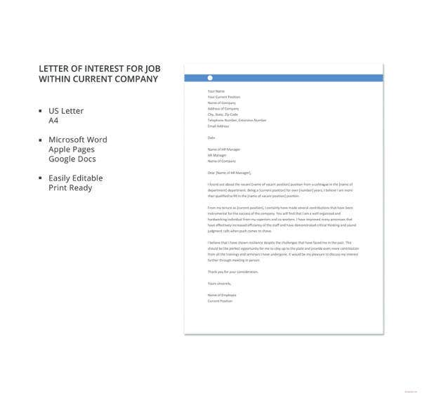 Letter of interest 12 free sample example format free letter of interest for job within current company details thecheapjerseys Image collections