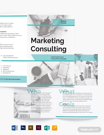 marketing consultant bi fold brochure template