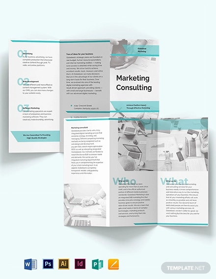 marketing consultant tri fold brochure template