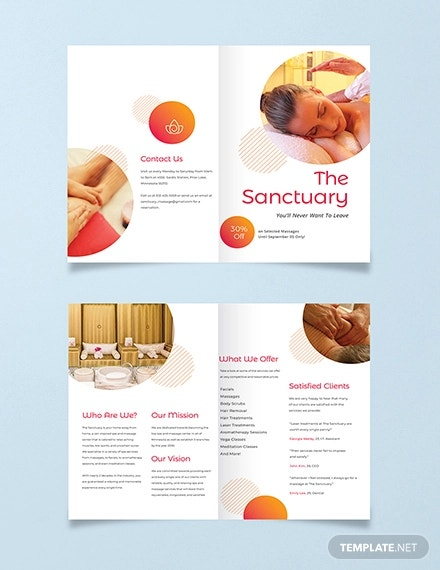 massage therapy bi fold brochure template