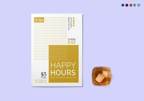 minimal happy hour flyer template in psd
