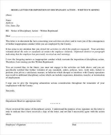 model letter for imposition of disciplinary action
