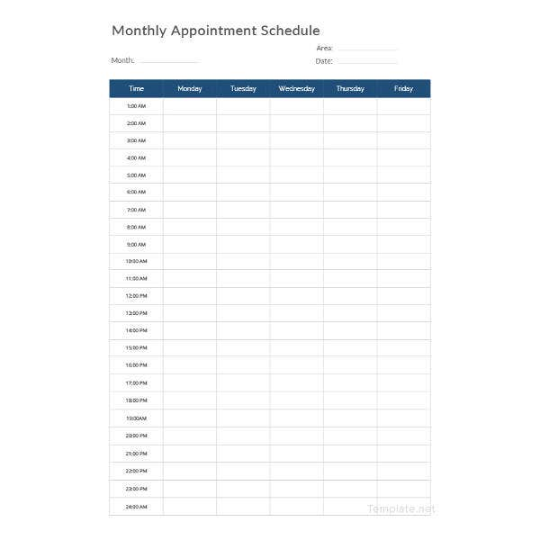 monthly-appointment-schedule-template
