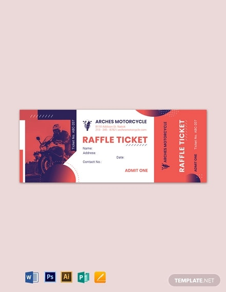 motor cycle raffle ticket template