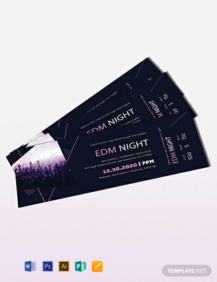 music theme event ticket template
