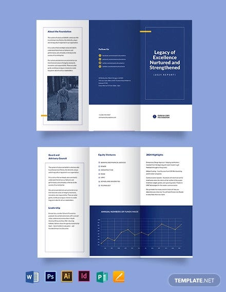 ngo annual report tri fold brochure template