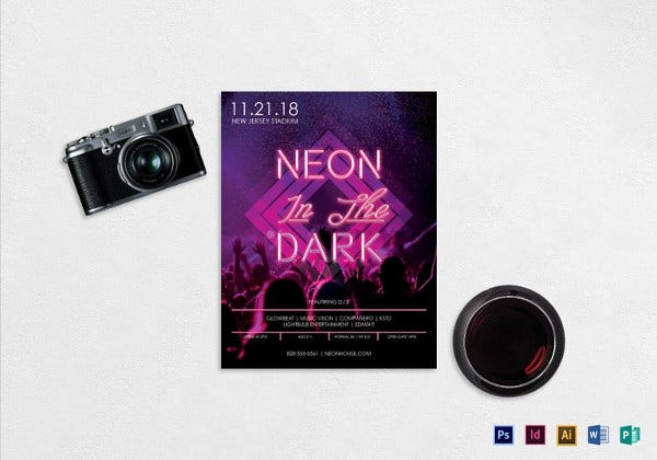 neon music party flyer template