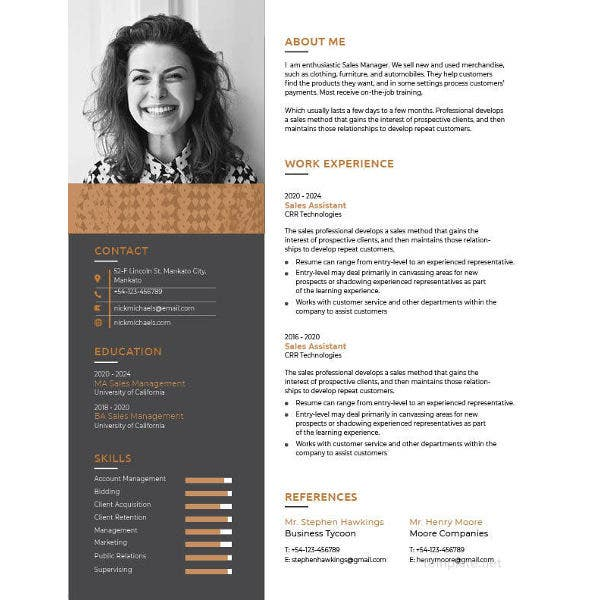 one page resume template1