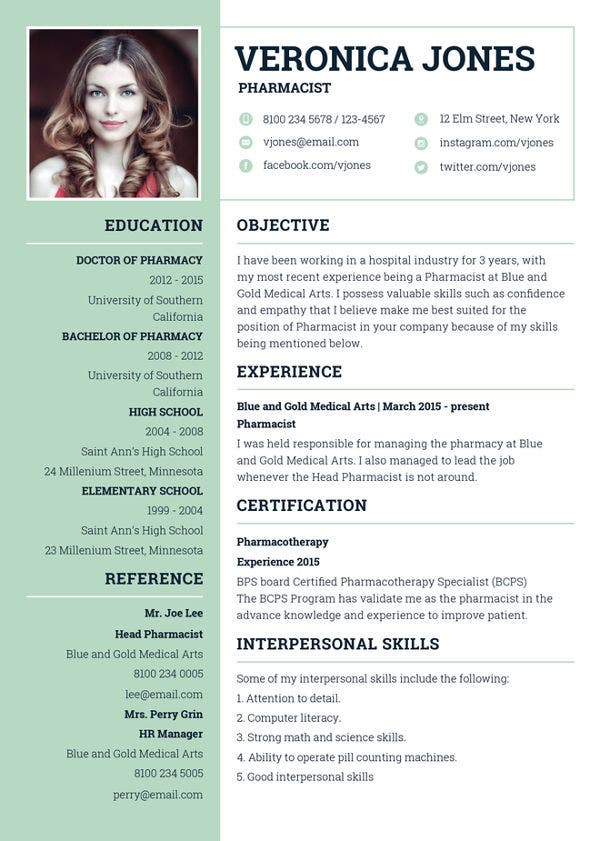 Pharmacist resume examples 10 pharmacist resume templates to.
