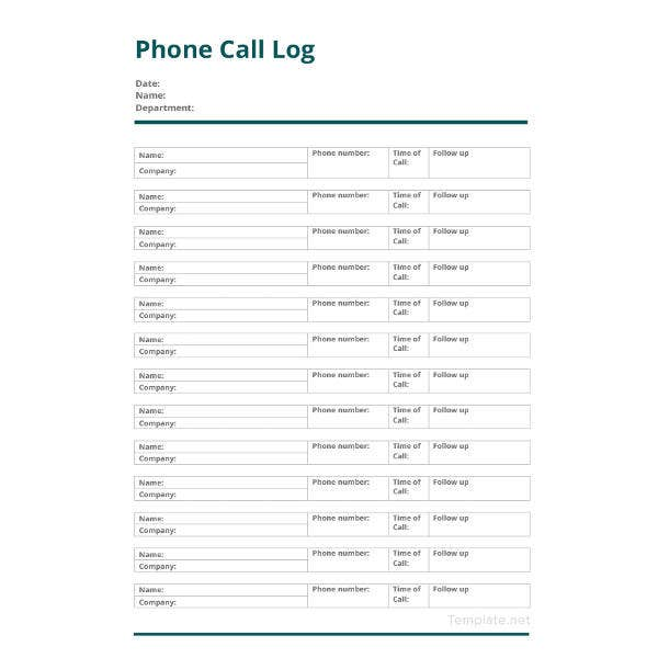 Call Log Sheet Template - 11+ Free Word, PDF, Excel Documents ...