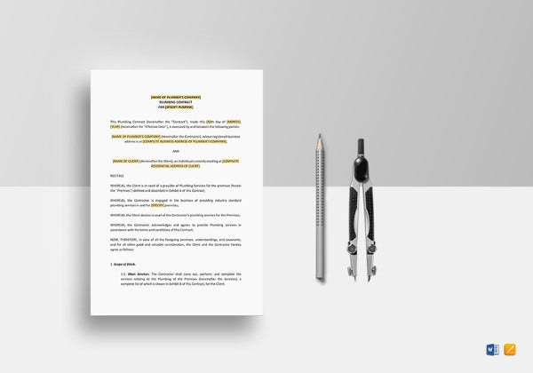 plumbing contract word template