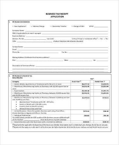 printable-business-tax-receipt-application-template
