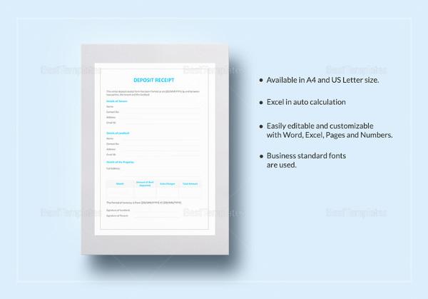 printable deposit receipt template