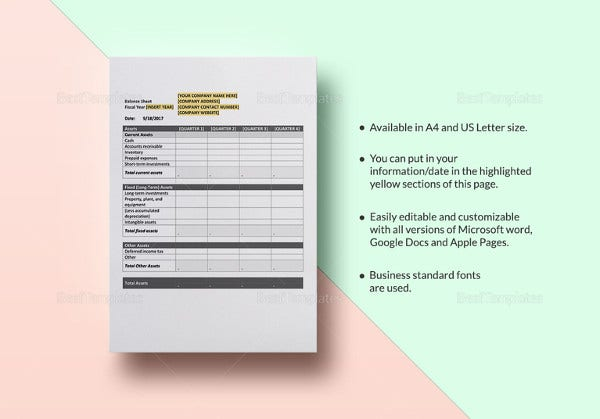 printable quarterly balance sheet template