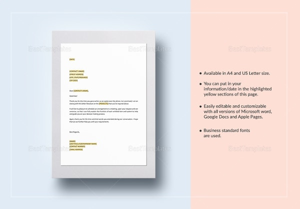 product-literature-in-response-to-phone-inquiry-template