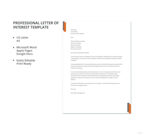 Letter of interest 12 free sample example format free letter of interest 12 free sample example format free premium templates spiritdancerdesigns Gallery