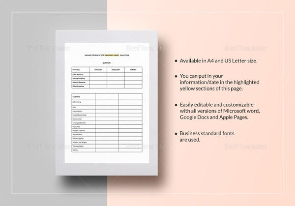 quarterly income statement template in word