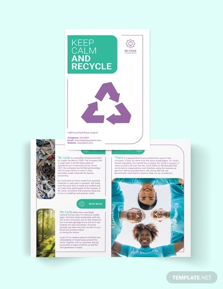 recycling bi fold brochure template