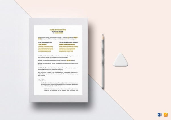 renovation contract template in google docs