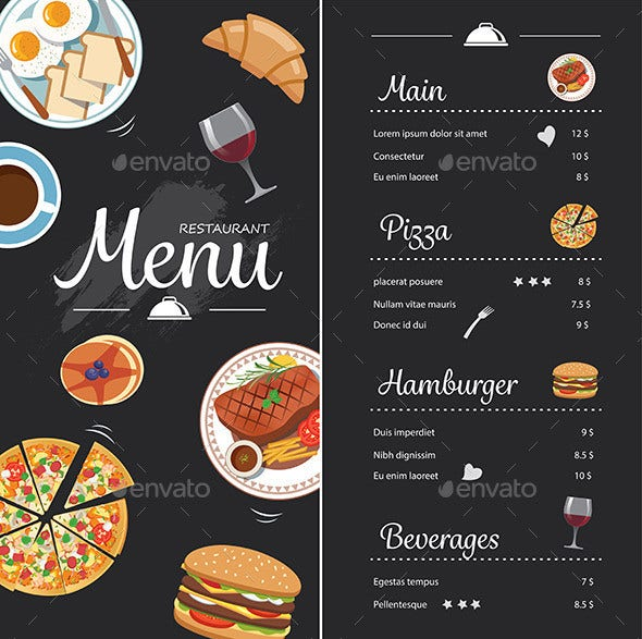 restaurant food chalkboard menu design