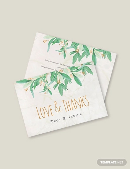 rustic floral thank you card template